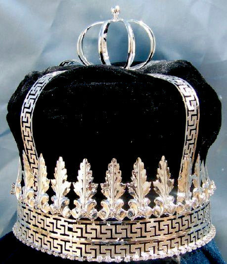 Imperial State Mens King Rhinestone Silver and black Crown, CrownDesigners