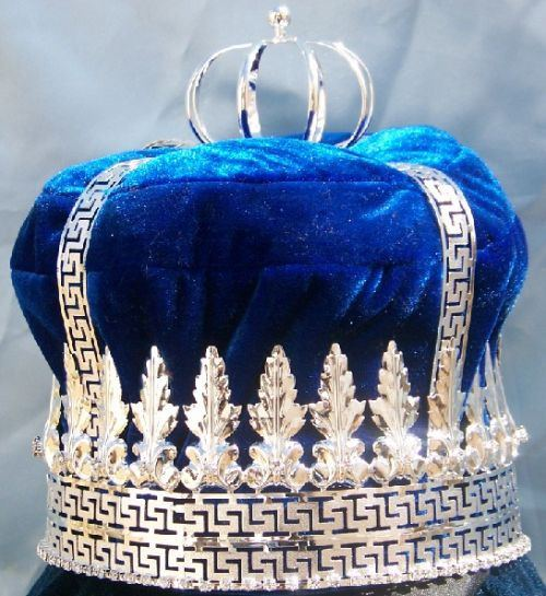 Imperial State Mens King Rhinestone Silver and Blue Crown, CrownDesigners