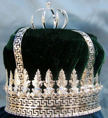 Imperial State Mens King Rhinestone Silver and Emerald Green Crown - CrownDesigners