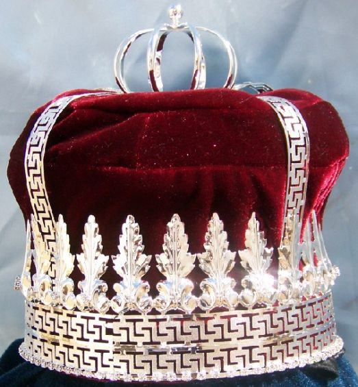 Imperial State Mens King Rhinestone Silver and Red Crown - CrownDesigners