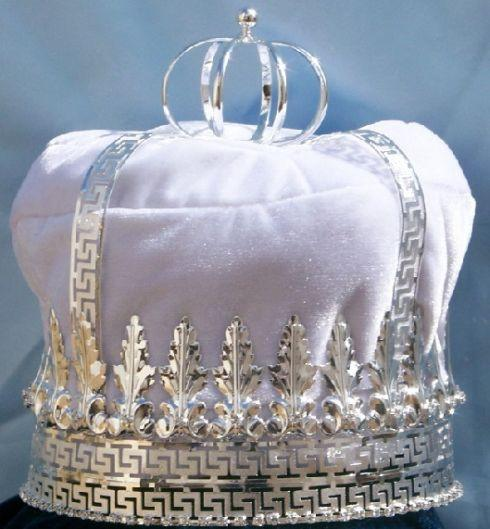 Imperial State Mens King Rhinestone Silver and White Crown, CrownDesigners