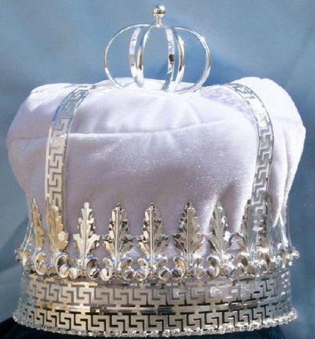 Imperial State Mens King Rhinestone Silver and White Crown - CrownDesigners