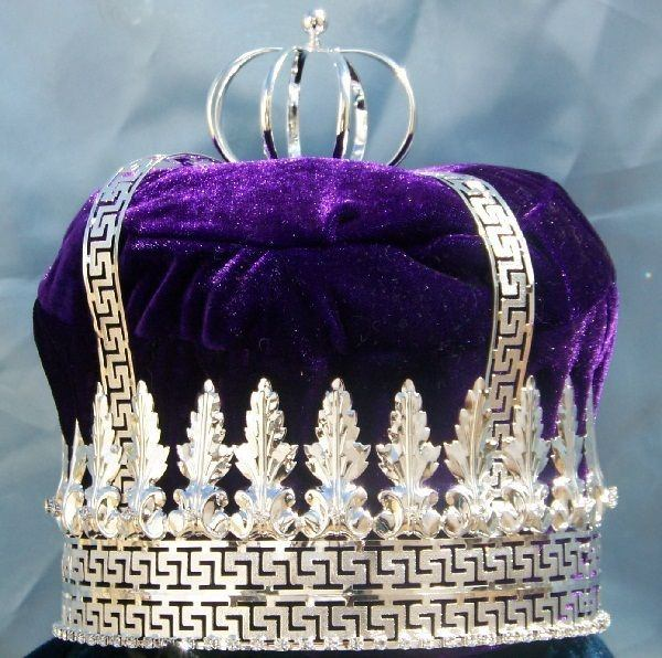 Imperial State Mens King Rhinestone Silver and Purple Crown - CrownDesigners