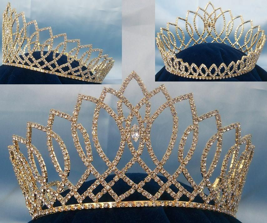 Beauty Pageant Rhinestone Miss Beauty Queen Full Gold Rhinestone Crown, CrownDesigners