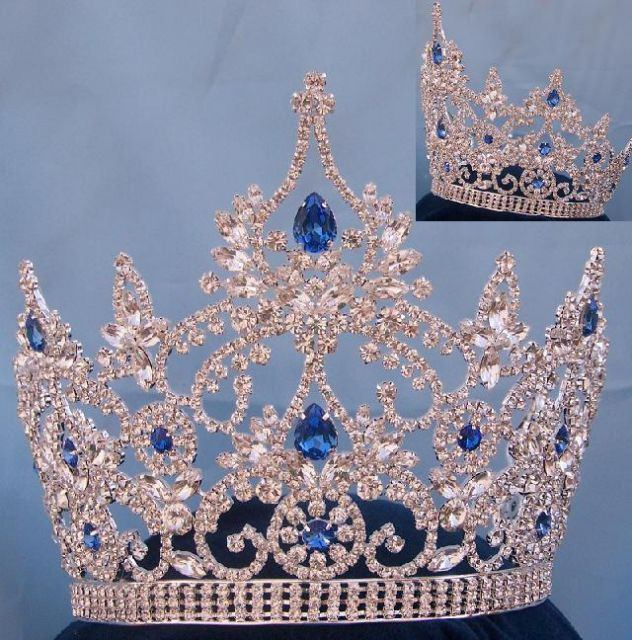 Large Pageant Blue Sapphire Crown (Adjustable) - CrownDesigners