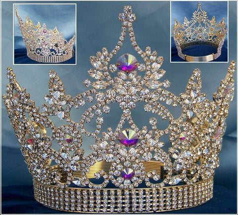 Continental Adjustable Gold Aurora Borealis Crown Tiara, CrownDesigners
