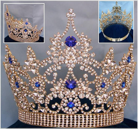 Continental Gold blue Sapphire Crown Tiara, CrownDesigners