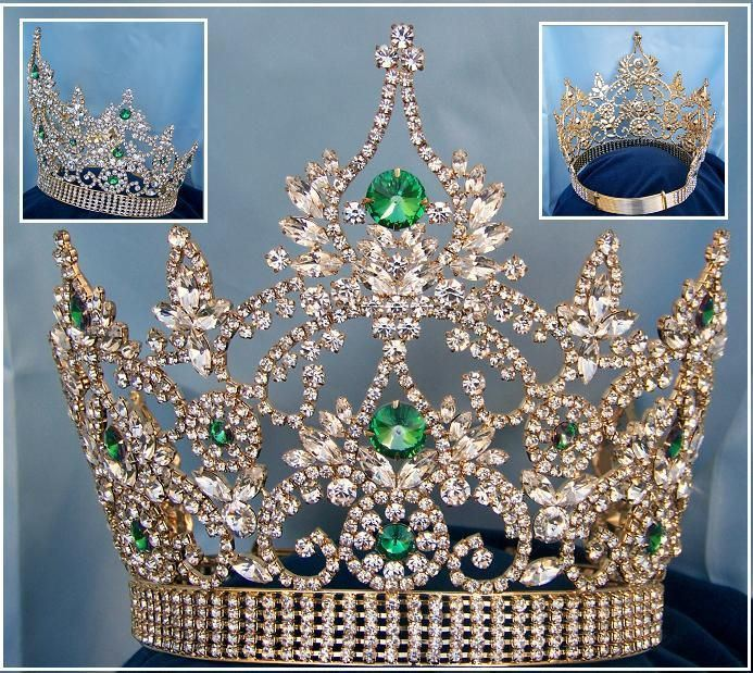 Continental Adjustable Gold Emerald Rhinestone Crown Tiara - CrownDesigners