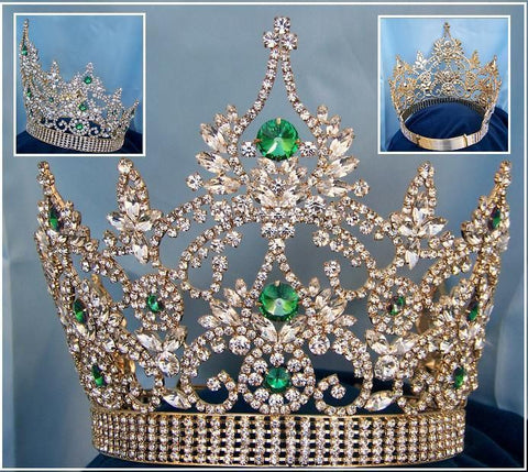 Continental Adjustable Gold Emerald Rhinestone Crown Tiara, CrownDesigners
