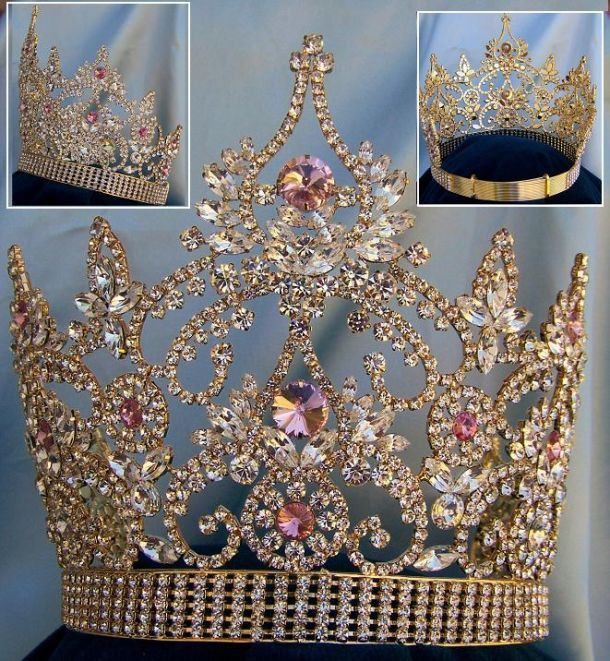 Continental Rhinestone Gold Pink Crown tiara, CrownDesigners
