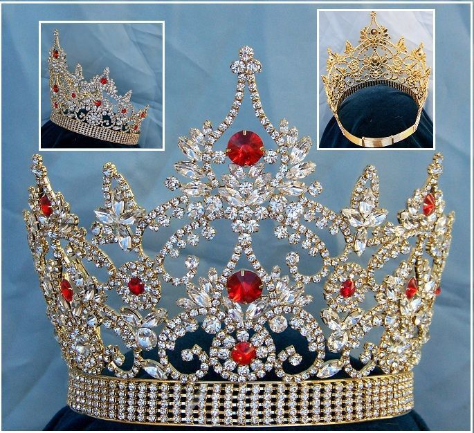 Continental Adjustable Gold Ruby Rhinestone Crown Tiara, CrownDesigners