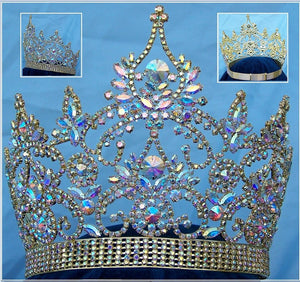 Continental Adjustable Aurora Borealis Gold  Rhinestone Crown Tiara - CrownDesigners