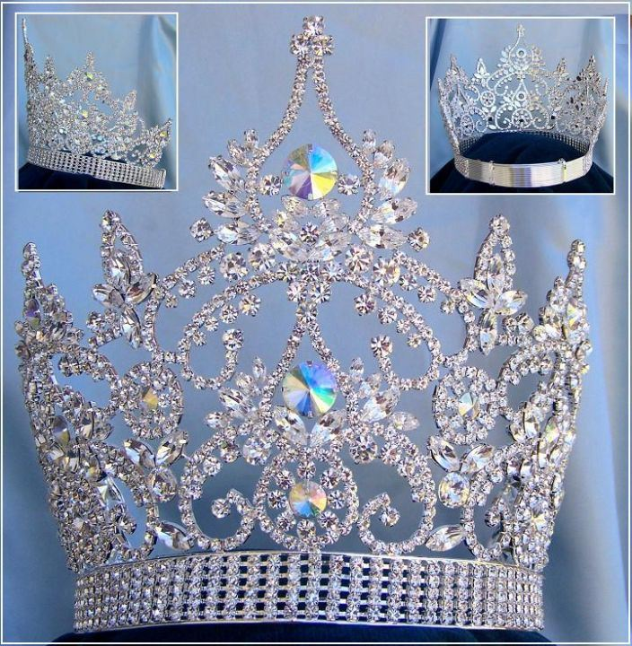 Continental Adjustable Aurora Borealis Rhinestone Crown Tiara - CrownDesigners