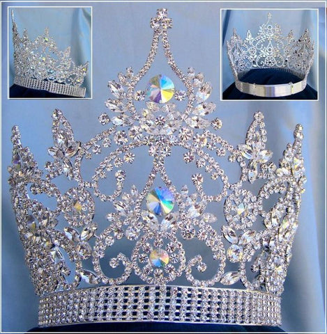 Continental Adjustable Aurora Borealis Rhinestone Crown Tiara, CrownDesigners