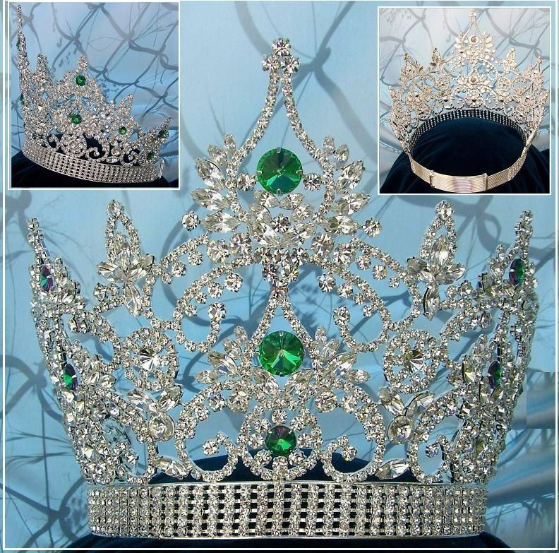 Continental Adjustable Silver Green Emerald Rhinestone Crown Tiara, CrownDesigners