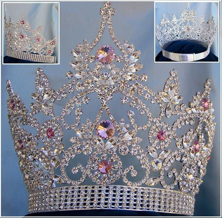 Continental Adjustable Silver Pink Rhinestone Crown Tiara, CrownDesigners