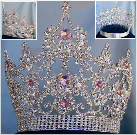 Continental Adjustable Silver Pink Rhinestone Crown Tiara