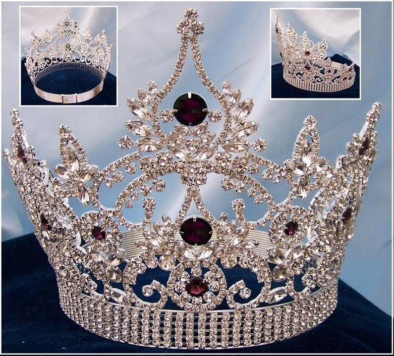Continental Adjustable Silver Amethyst Crown Tiara, CrownDesigners