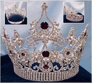 Continental Adjustable Silver Amethyst Crown Tiara - CrownDesigners