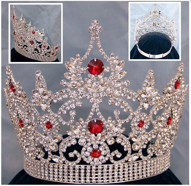 Continental Adjustable Silver Ruby Crown Tiara - CrownDesigners