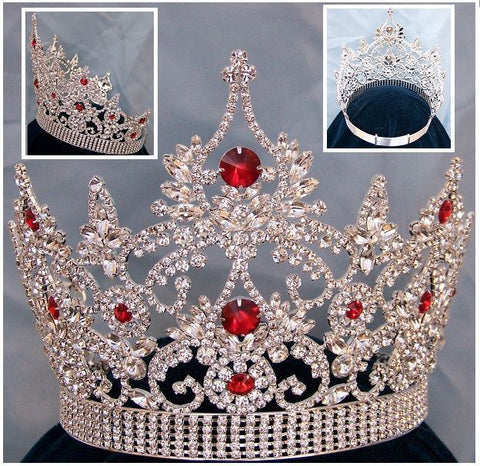 Continental Adjustable Silver Ruby Crown Tiara, CrownDesigners