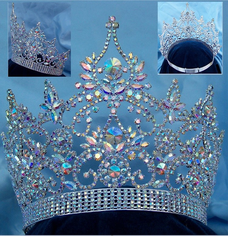 Continental Adjustable Aurora Borealis Silver Crown Tiara, CrownDesigners