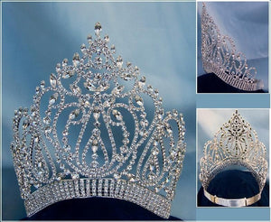 Adjustable Contoured Miss Beauty Pageant Queen Rhinestone Crown - CrownDesigners