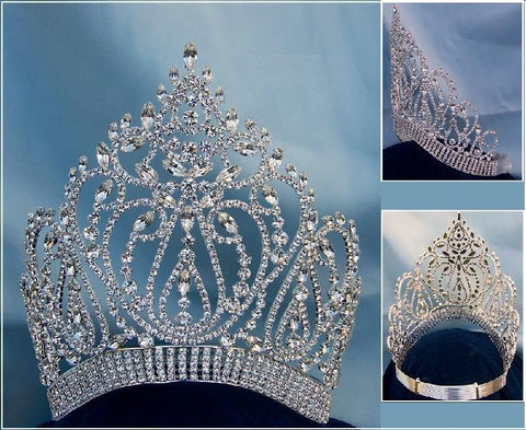 Adjustable Contoured Miss Beauty Pageant Queen Rhinestone Crown, CrownDesigners
