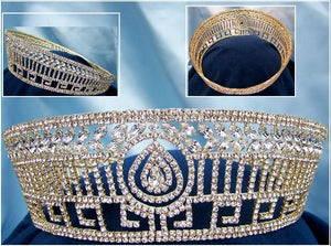 Sofia Bridal Rhinestone Full Gold Crown - CrownDesigners