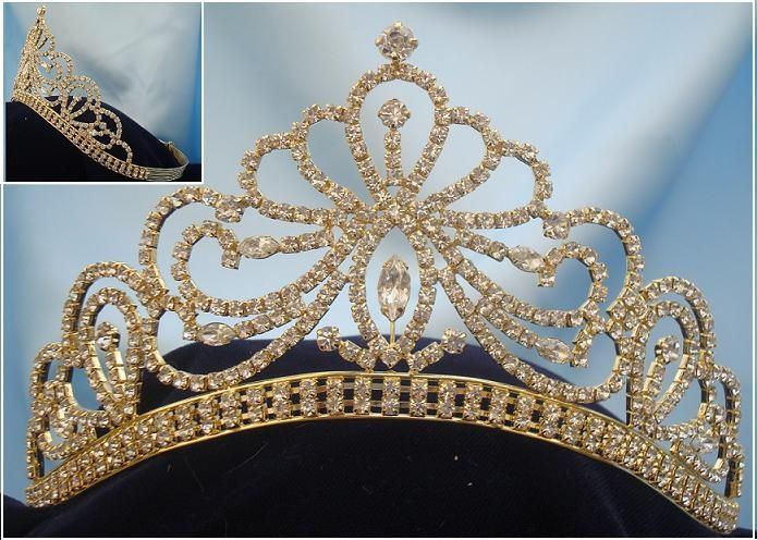 Miss Beauty Pageant Queen Bridal Rhinestone Gold Crown Tiara - CrownDesigners