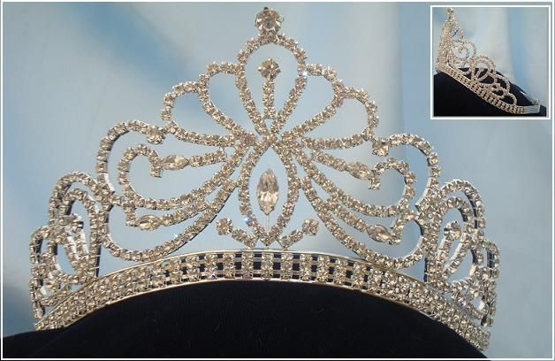 Miss Beauty Pageant Queen Bridal Rhinestone Silver Crown Tiara, CrownDesigners