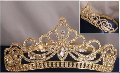 Miss Beauty Queen Pageant Rhinestone GOLD Crown Tiara