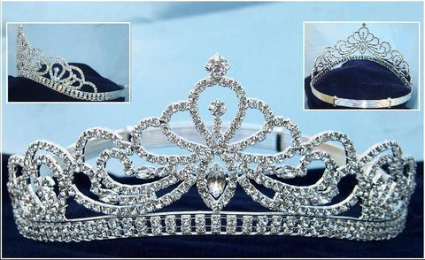 Miss Beauty Queen Pageant Rhinestone Silver Crown Tiara