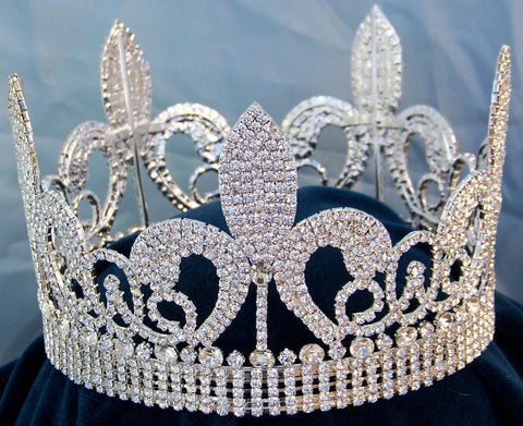 Rhinestone Beauty Pageant Unisex Fleur D'lis Imperial Full Crown, CrownDesigners