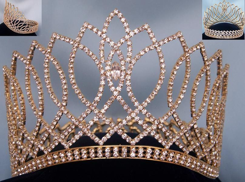 Beauty Pageant Gold Contoured Rhinestone Contoured Full Crown Tiara - CrownDesigners