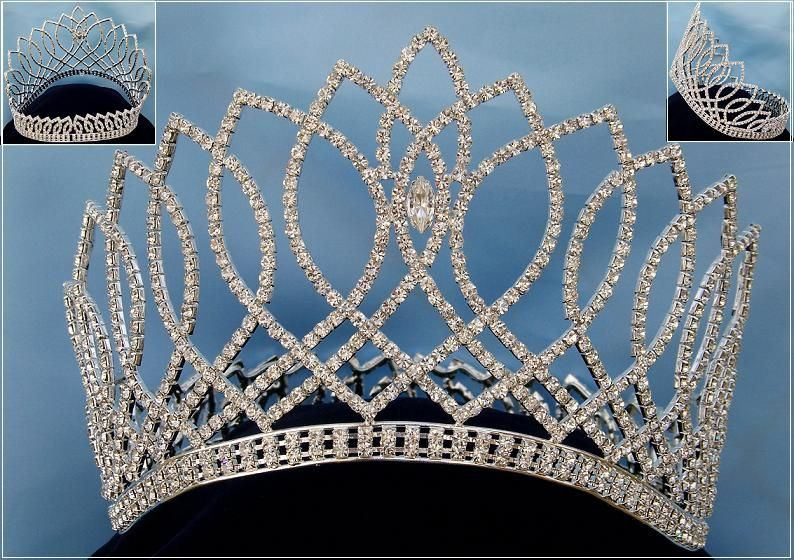 Beauty Pageant Silver Contoured Rhinestone Crown Tiara, CrownDesigners