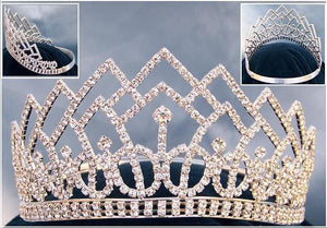 Beauty Pageant Rhinestone Contoured Crown Tiara - CrownDesigners