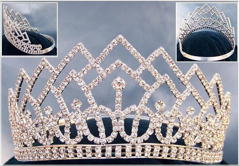 Beauty Pageant Rhinestone Contoured Crown Tiara, CrownDesigners