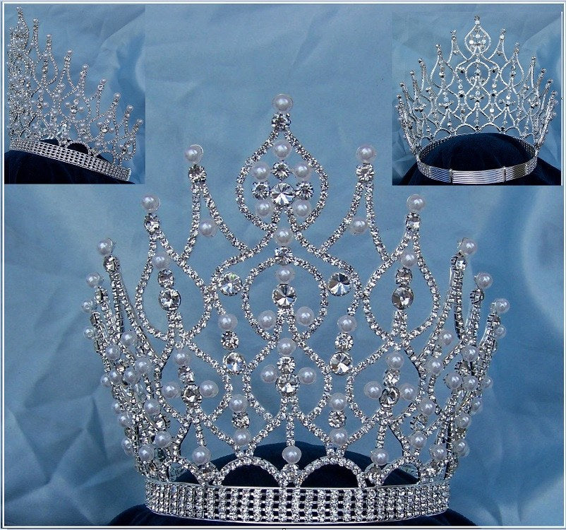 Large Beauty Pageant Rhinestone Adjustable silver Pearl Full crown, CrownDesigners