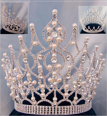 Beauty Pageant Rhinestone Full Pearls Crown, CrownDesigners