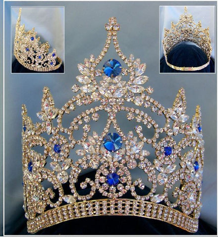 Continental Adjustable Contoured Blue Sapphire Gold Rhinestone Crown - CrownDesigners