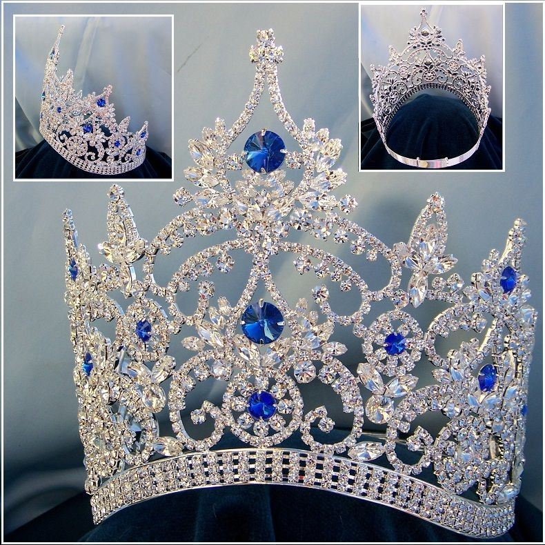 Continental Adjustable Contoured Silver Blue Sapphire Rhinestone Crown, CrownDesigners