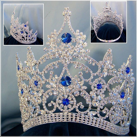 Continental Adjustable Contoured Silver Blue Sapphire Rhinestone Crown - CrownDesigners