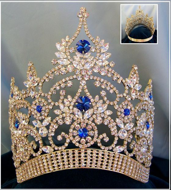 Continental Adjustable Contoured Gold Blue Sapphire Rhinestone Crown, CrownDesigners