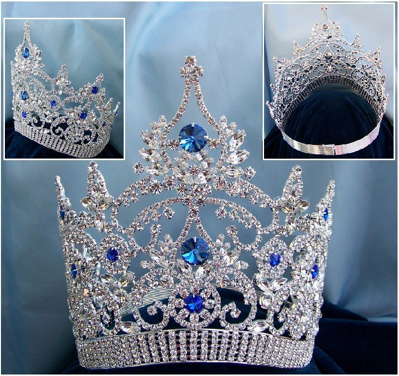 Continental Adjustable Contoured Blue Sapphire Rhinestone Crown - CrownDesigners