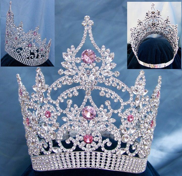 Continental Adjustable Contoured Silver Pink Rhinestone Crown - CrownDesigners