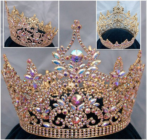 Continental Full Gold Aurora Borealis Rhinestone Crown, CrownDesigners