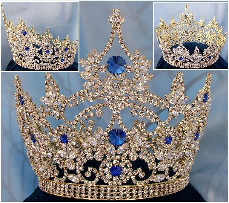 Continental Blue Sapphire Gold Rhinestone Full Crown - CrownDesigners