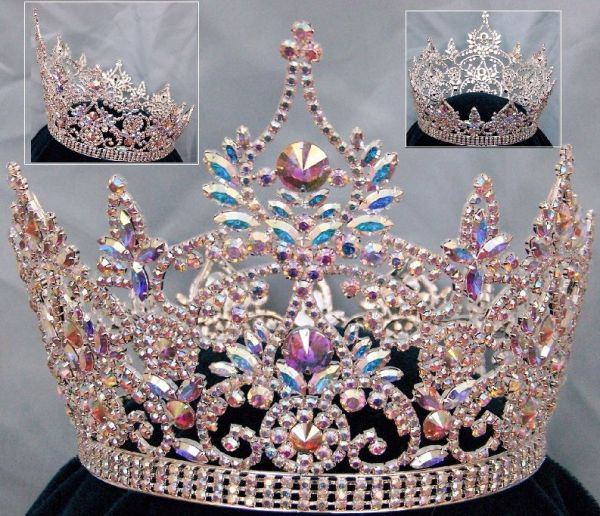 Continental Full Silver Aurora Borealis Rhinestone Crown, CrownDesigners