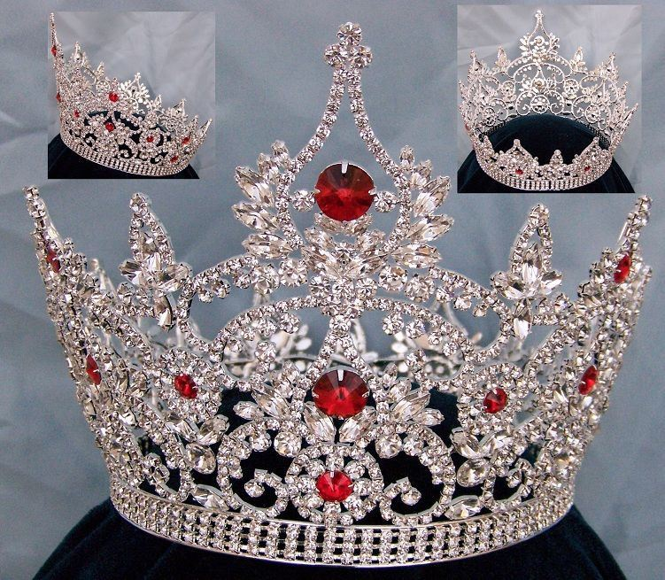 Continental Ruby Red Rhinestone Full Crown, CrownDesigners